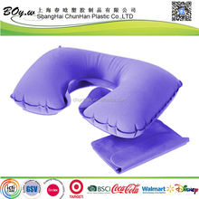 BSCI Factory wholesales head rest airplane travel flocked pvc neck inflatable pillow