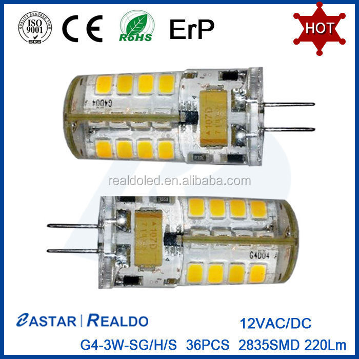 High quality 1.5w 3w silicone 2835 <strong>ac</strong>/dc mini g4 12v led bulb g4 with CE/ROHS/EMC/ERP