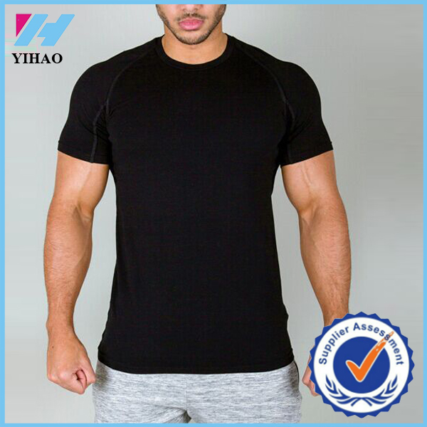 Yihao high quality men cotton and elastane gym fitness for Cotton and elastane t shirts