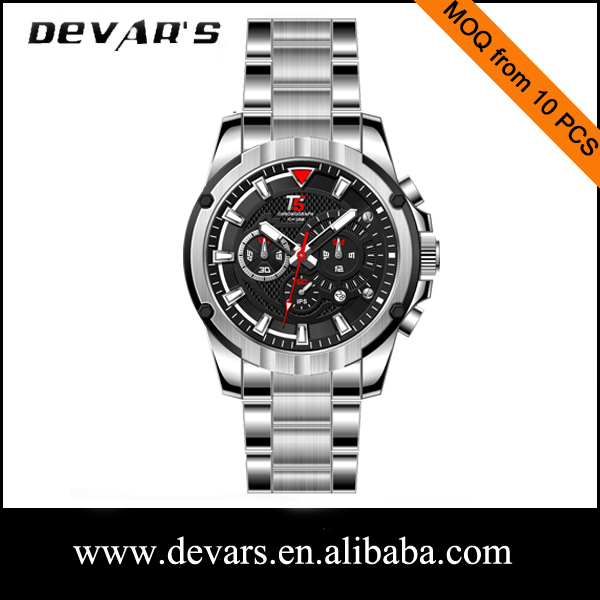 T5 Devars men wrist watch with promotion price,stainles steel quartz man watch