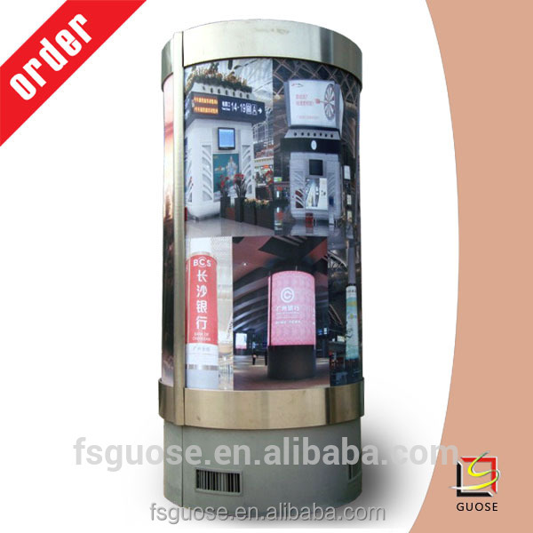 Led fabric or PC panel column round advertising backlit free standing aluminum frame light box