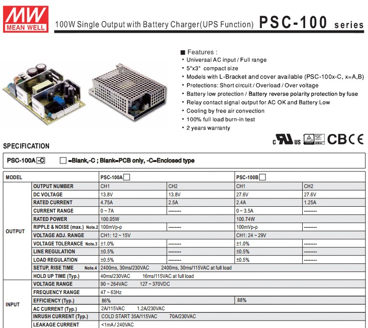 Meanwell PSC-100A 100w 12v ups power supply