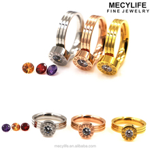 MECYLIFE Roman Words Engraving Stainless Steel Changeable Stone Ring