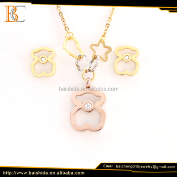 China manufacturer 18K gold plated rose gold love bear design stainless steel pendant and earring jewelry set for unisex