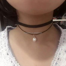 2016 Hot Sale Double Ribbon Choker Necklace with Freshwater Pearl Pendant