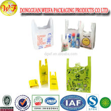 Plastic shopping bags T shirt style grocery bag happy face big bags
