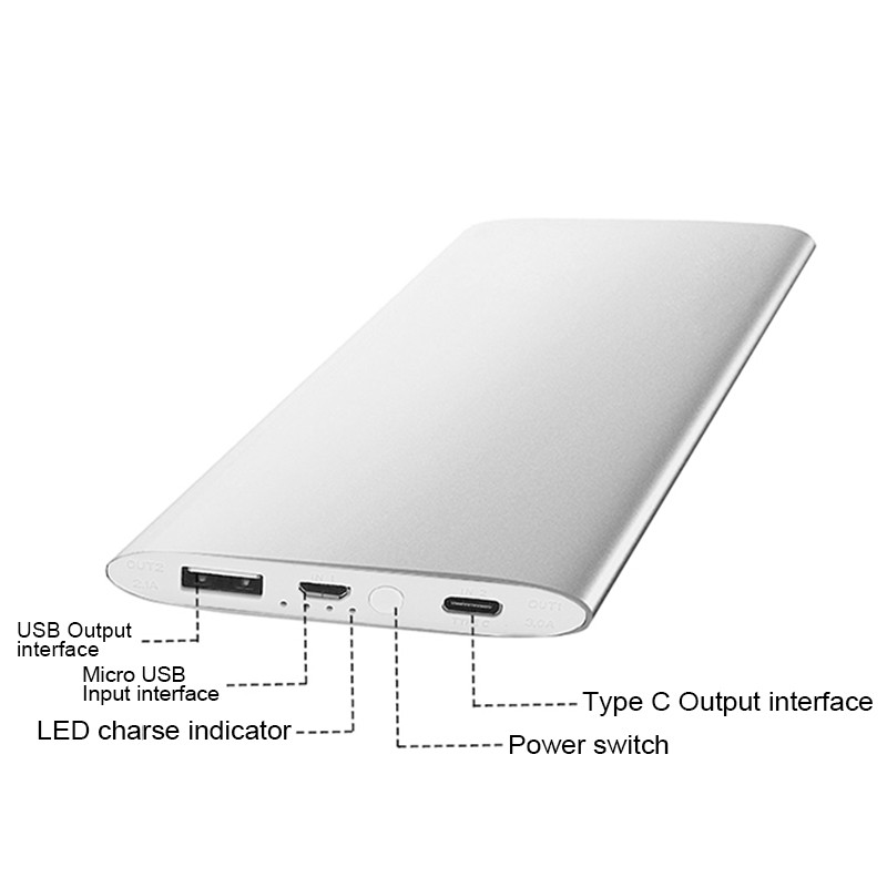 USB Type-C Quick Charge Power Bank Portable External Battery Fast Charger for Samsung Galaxy S7