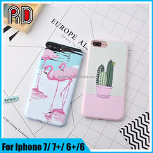 2017 most popular summer cartoon flamingo cactus printing matte silicon clear mobile phone case for iphone 7 7plus