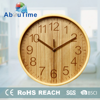 matte finished wood frame spring wooden wall clock