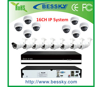 16ch NVR KIT 960p 1.3mp IP Indoor/Outdoor Night Vision Security Camera P2P Home alarm video push CCTV Surveillance system