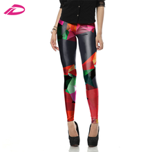 Wholesales New Fashion 3D Printed Color Ray Fluorescence Woman High Waist Knitted Pants