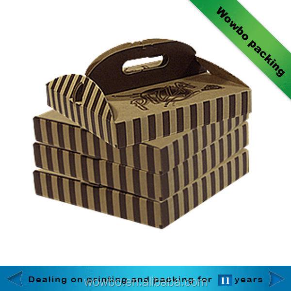 Small take easy away pizza paper box with handle