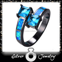 factory direct Multi-Color CZ 10KT Black Gold Filled Engagement Ring fashion opal