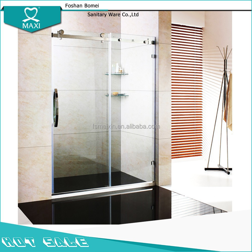 MAXI stainless steel bypass shower sliding door , frameless shower screen tempered glass sliding shower door