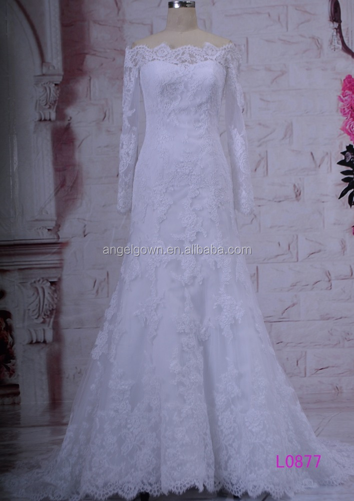 L0877 long sleeves straight neckline lace trumpet white wedding dress
