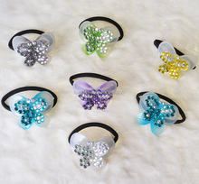 Cute kids fashion handmade rhinestone crochet elastic bow hair bands for girls.