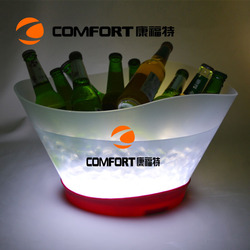 Food Grade PP Plastic LED wine ice bucket with led lights