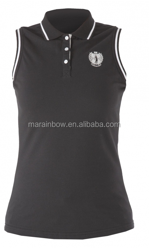 pique cotton solid black ladies lovely sleeveless polo shirt custom for golf sports best wholesale