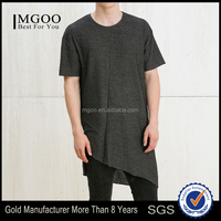 MGOO Customized Cotton/ Polyester Fashion Blank Streetwears Irregular Hem Cut Tshirts OEM Hip Pop Longline Clothing
