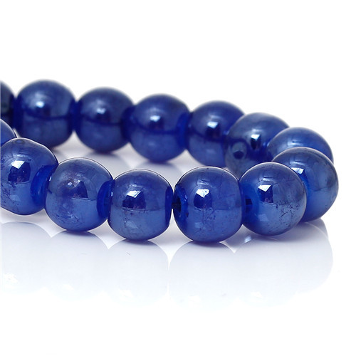 2 Strands Round Dark Blue Imitation Jade Crystal Glass Beads 8mm