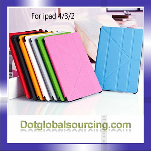 PU Smart Flip Cover Case for iPad 3 4 2 with 5 Shapes