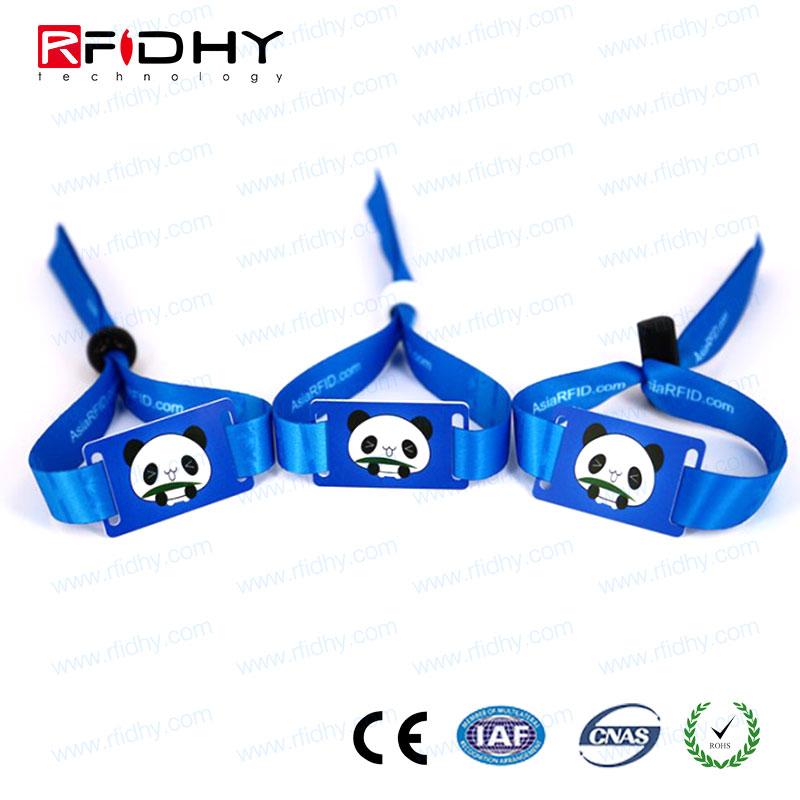 High frequency 13.56mhz HF ISO14443A NTAG216 rfid fabric festival music wristband