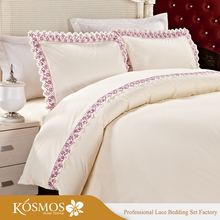KOSMOS Bedding Polycotton Embroidery Lace China Handmade Bed Sheets Design