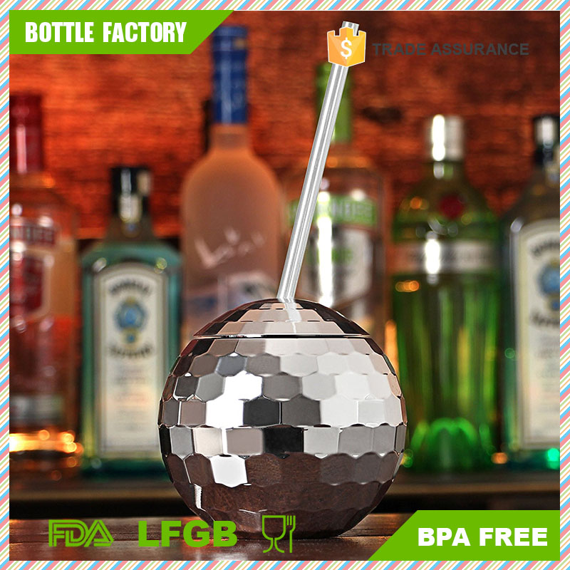 700ml AS Material Mirror Disco Ball Shaped Cocktail Cup With Lid And Straw