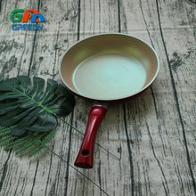 Copper Coating Color Thermo-spot Heat Indicator Aluminum Frying Pan With Red Handle