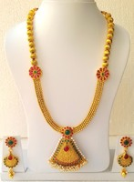 Indian Traditional Rani Haar Long Necklace Earring Polki Sets Bridal Dance Fashion Jewelery