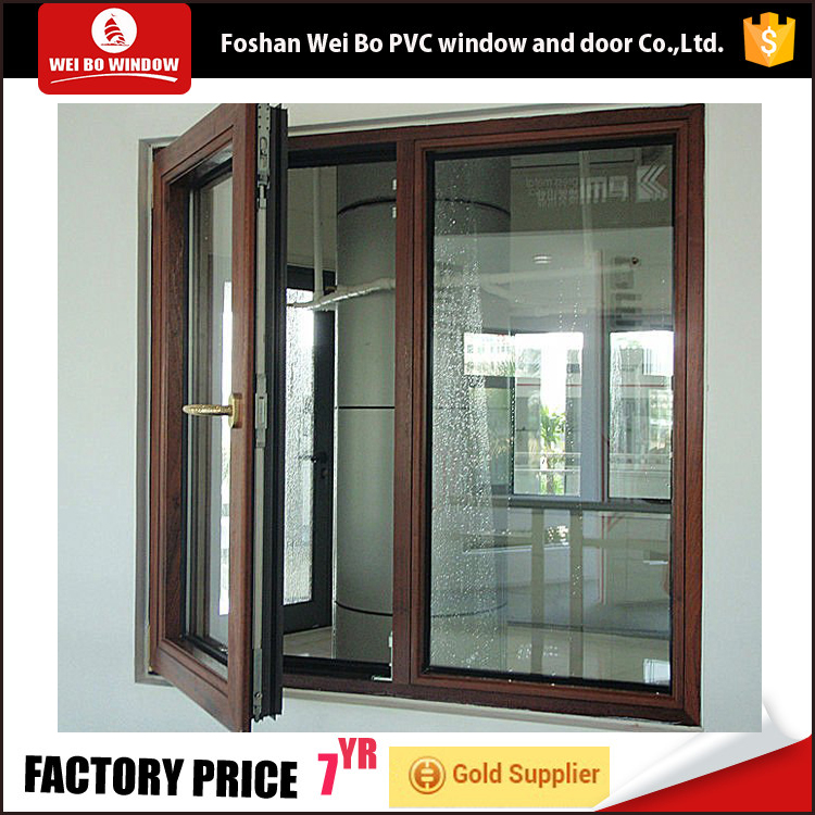 Wooden color pvc profile casement window swing open window