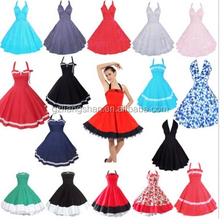 OEM Wholesale 1950s 60s Sexy Vintage Retro Vintage Swing Rockabilly Pinup Party Prom Halterneck Dress
