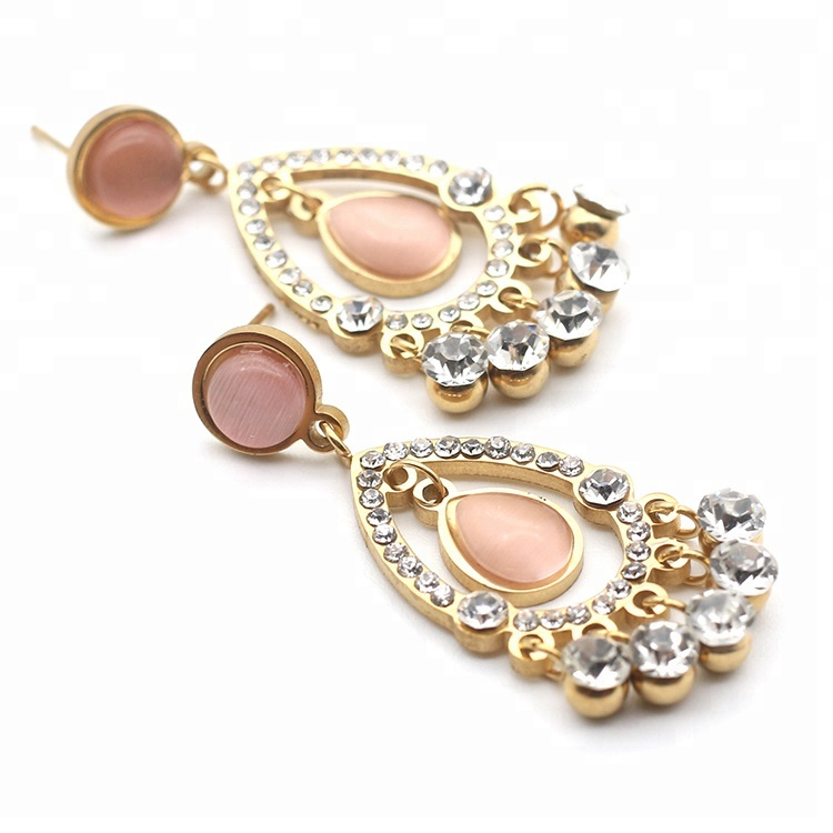 Fashion jewelry gold plated Teardrop Shaped stainless steel drop <strong>earring</strong>