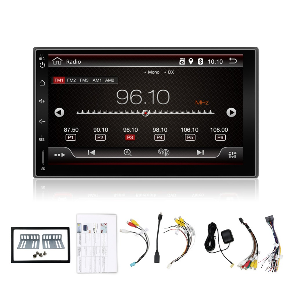 Android 4.4.4 7'' HD Bluetooth Touch Screen Car Stereo Radio 2 DIN FM/MP5/MP3/USB/AUX + Camera