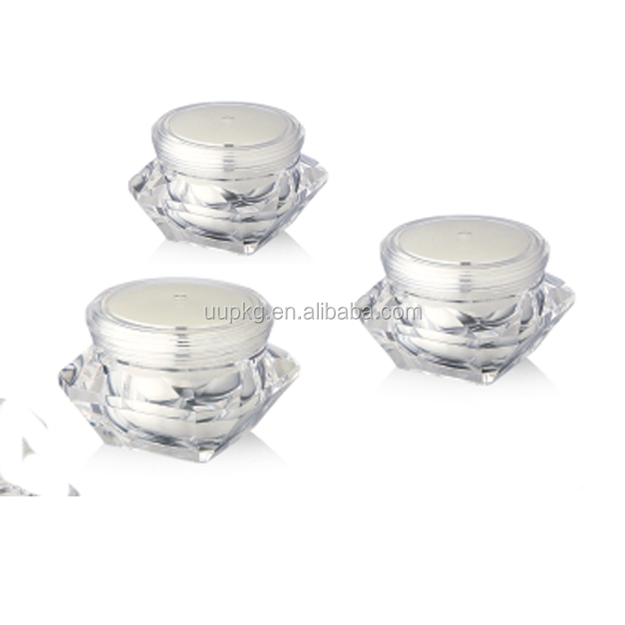 UU Packaging high fashion 15g 30g 50g diamond cosmetic cream jar acrylic