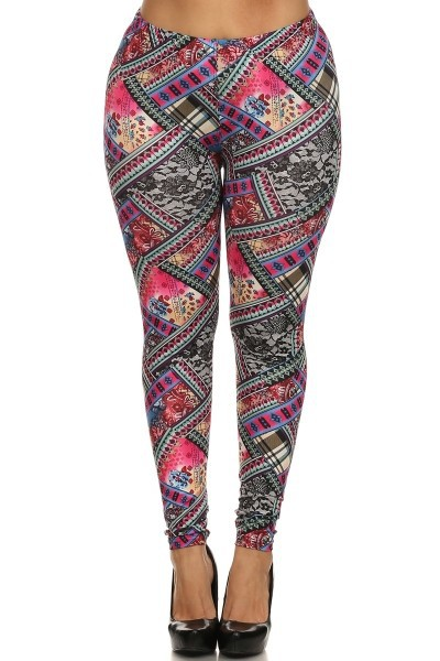 Wholesale Womens Plus Size Leggings Quilt Print Poly Brushed