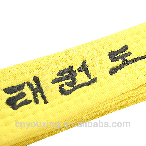 Martial arts colors taekwondo belt with embroidery