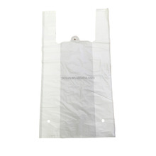 Manufacturer OEM cheap HDPE / LDPE white shopping handle plastic bag/Plastic vest bag