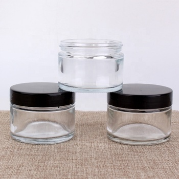 Wholesale Clear Glass Cosmetic Jar 100ml round Cream Container