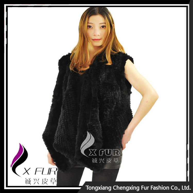 CX-<strong>G</strong>-B-<strong>03</strong> Good Quality Rabbit Fur Women Sex Clothing Knitted Fur Vest