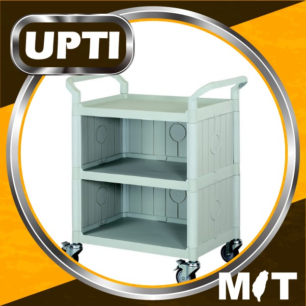 Taiwan Made High Quality Standard 3 Shelves Service Cart W/panels on 3 Sides Hospital Cart Trolley, Medical Cart, Hotel trolley