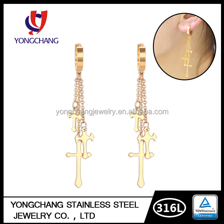 2016 latest 18k yellow gold plated women accessories 316l stainless steel cross huggie hoop earring