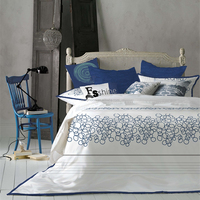 Chinese style Embroidery White Luxury Duvet Cover Set