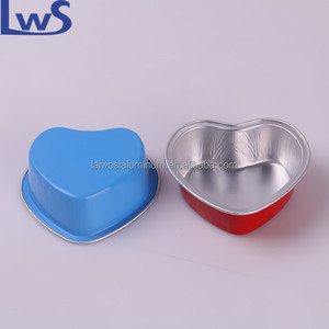 4oz Heart Shape Disposable Aluminum Foil Cups 100ml for Muffin Cupcake Baking Bake Utility Ramekin Cup