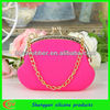 2013 fashion silicone coin pochi bags with gold chain