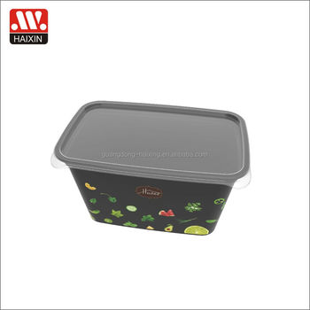 Rect. in mold labeling (IML)food container /storage box/on the go /meal prep containers1.2L black color
