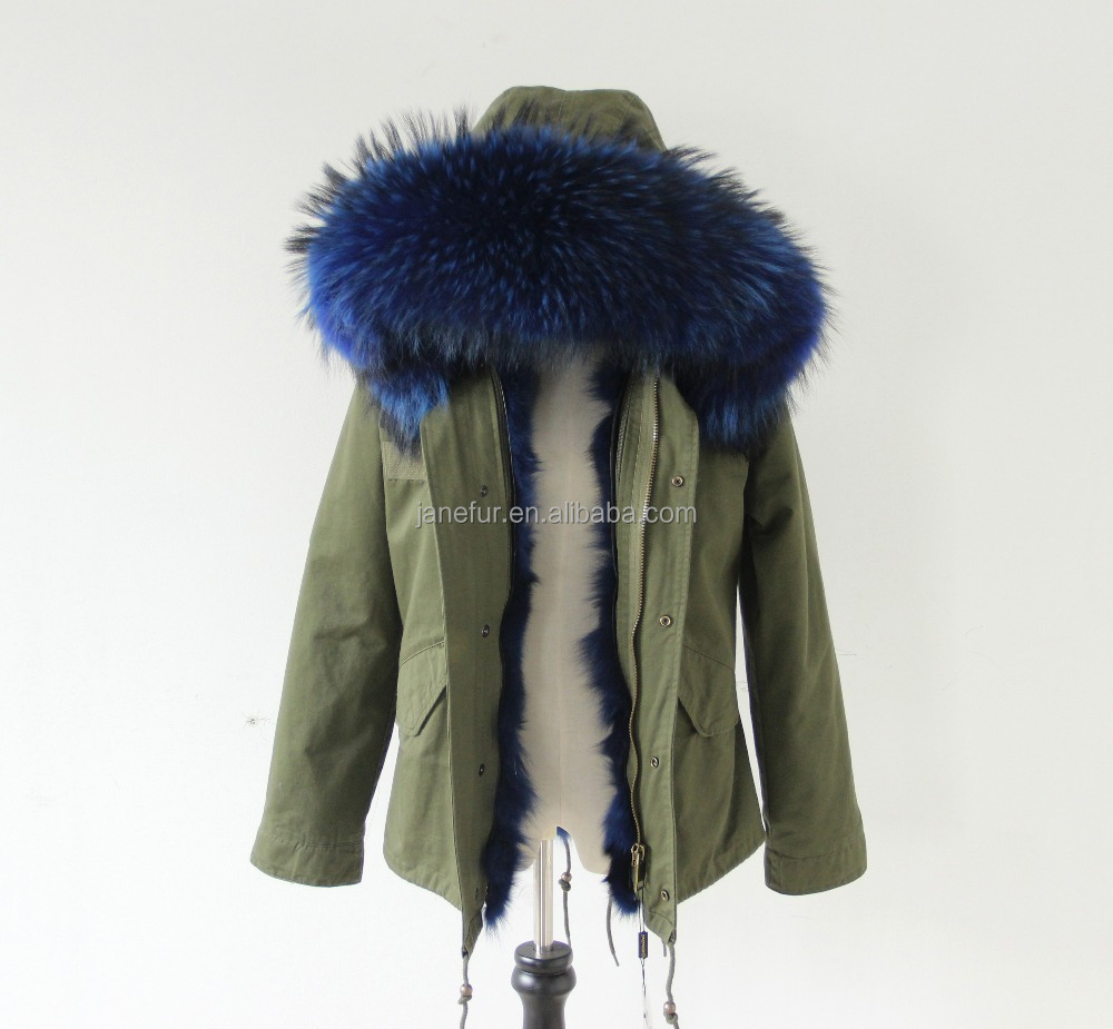 Real raccoon fur hood collar and colorful fox fur lined parka coat