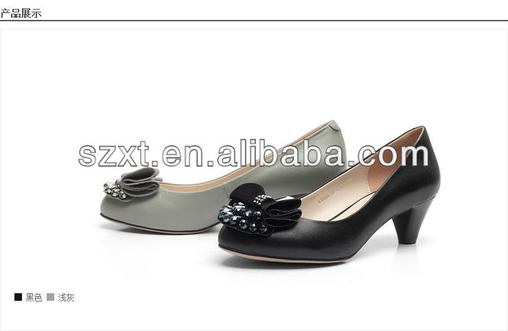 cheap pump PU shoes for women , chunky mid heel bow shoes ,clear lady shoes