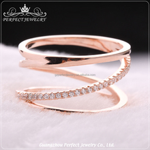 Top Fashion Designs Elegant Women Style Beautiful Rose Gold Color Charming Silver Ring With Cz