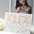 2017 Graceful Custom White Shimmer Laser Cut Cheap Wholesale Pocket Wedding Invitations